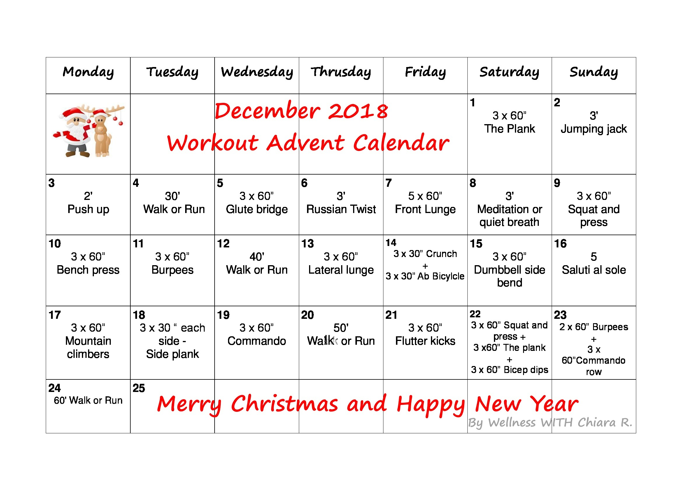 December 2018 Workout Advent Calendar